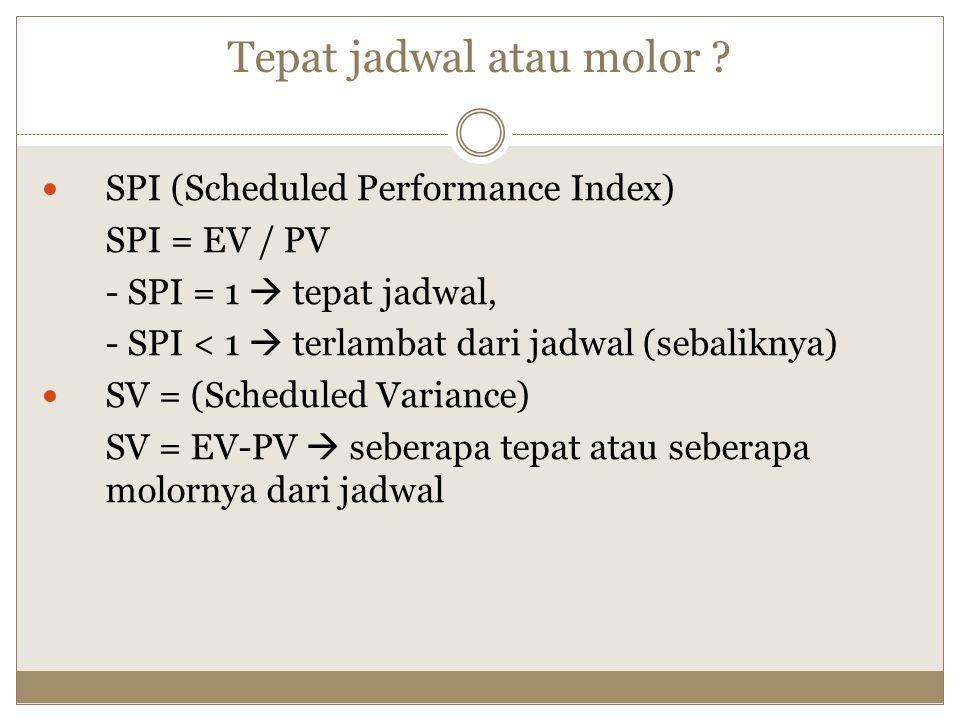 Tepat jadwal atau molor ? SPI (Scheduled Performance Index) SPI = EV / PV - SPI = 1  tepat jadwal, - SPI < 1  terlambat dari jadwal (sebaliknya) SV