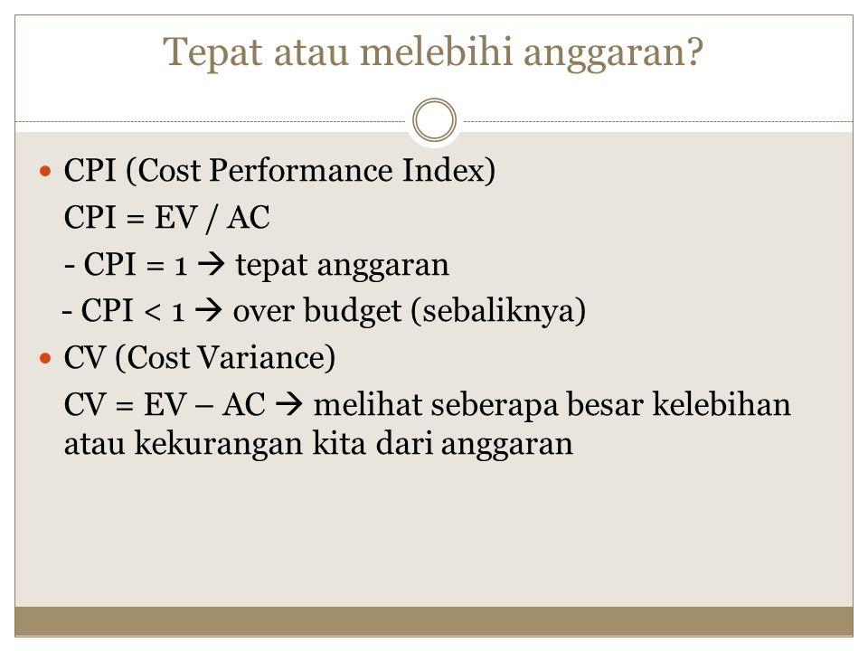 Tepat atau melebihi anggaran? CPI (Cost Performance Index) CPI = EV / AC - CPI = 1  tepat anggaran - CPI < 1  over budget (sebaliknya) CV (Cost Vari