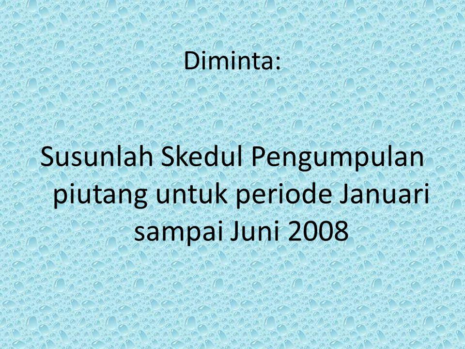 Diminta: Susunlah Skedul Pengumpulan piutang untuk periode Januari sampai Juni 2008