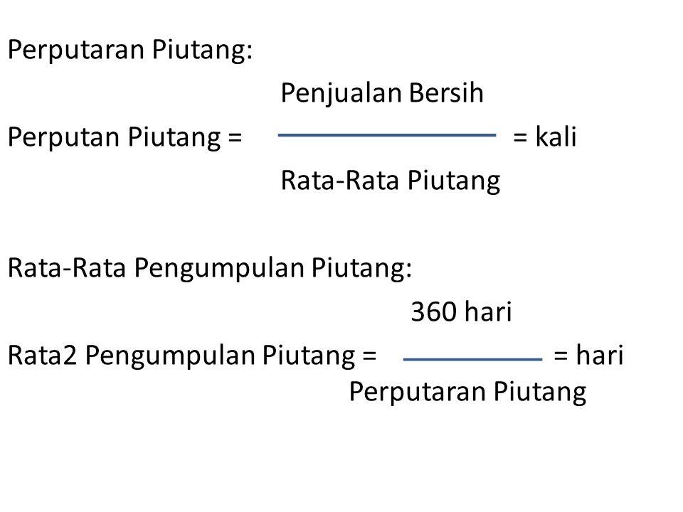 Perputaran Piutang: Penjualan Bersih Perputan Piutang = = kali Rata-Rata Piutang Rata-Rata Pengumpulan Piutang: 360 hari Rata2 Pengumpulan Piutang ==