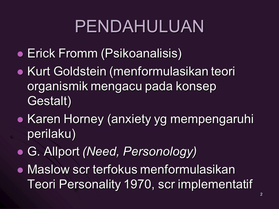 PENDAHULUAN Erick Fromm (Psikoanalisis) Erick Fromm (Psikoanalisis) Kurt Goldstein (menformulasikan teori organismik mengacu pada konsep Gestalt) Kurt