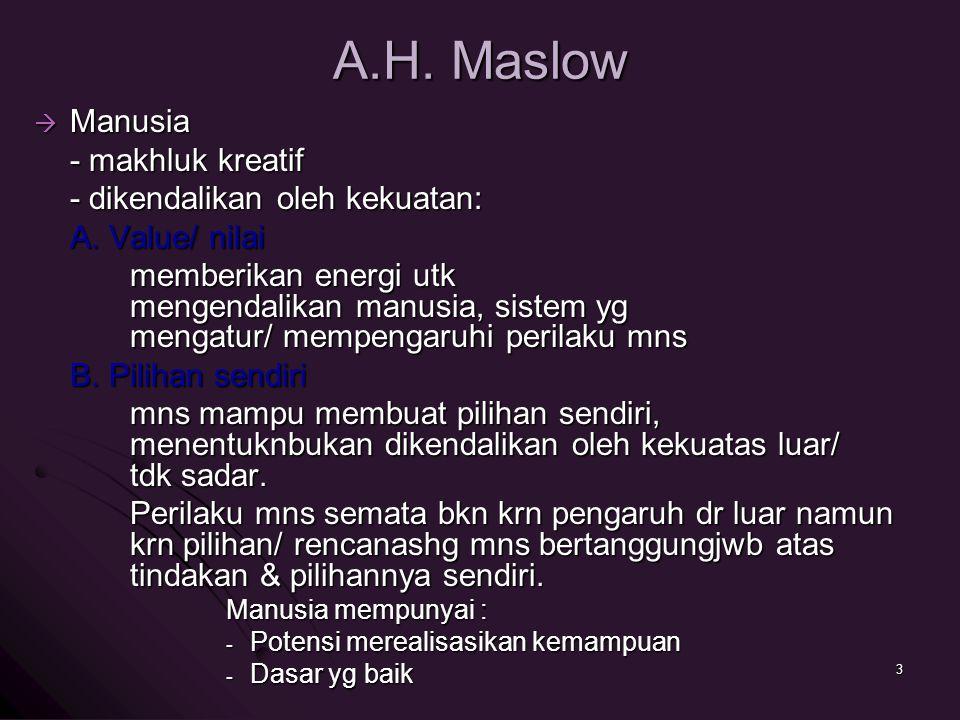 A.H. Maslow  Manusia - makhluk kreatif - dikendalikan oleh kekuatan: A. Value/ nilai memberikan energi utk mengendalikan manusia, sistem yg mengatur/