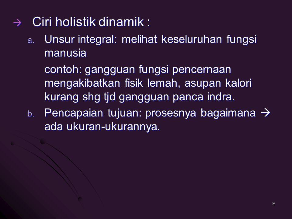  Ciri holistik dinamik : a. Unsur integral: melihat keseluruhan fungsi manusia contoh: gangguan fungsi pencernaan mengakibatkan fisik lemah, asupan k