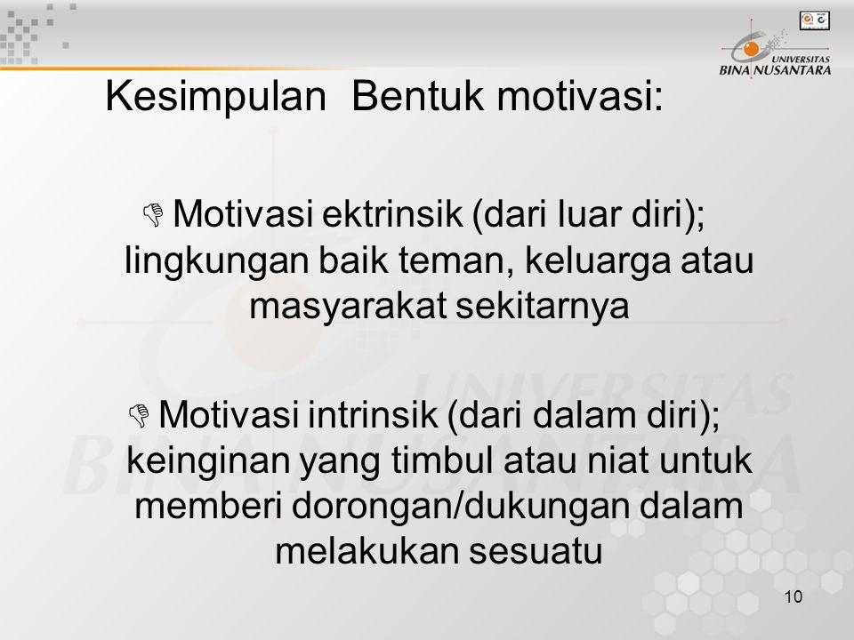 10 Kesimpulan Bentuk motivasi: DMotivasi ektrinsik (dari luar diri); lingkungan baik teman, keluarga atau masyarakat sekitarnya DMotivasi intrinsik (d