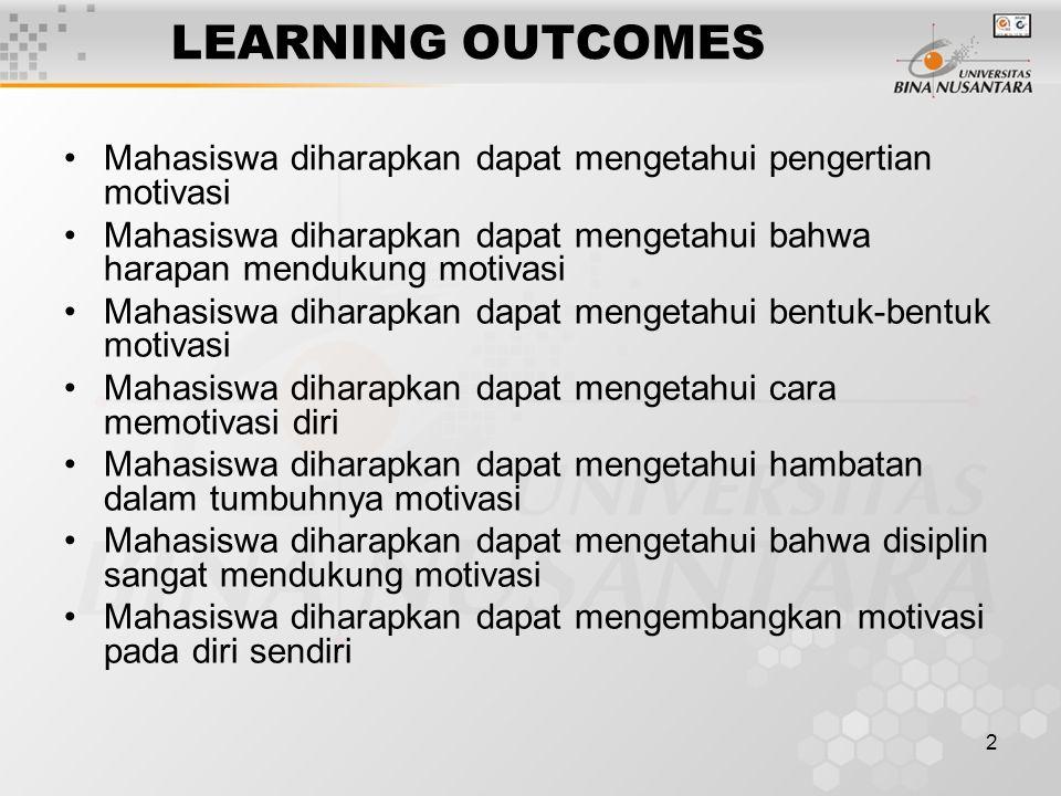 2 LEARNING OUTCOMES Mahasiswa diharapkan dapat mengetahui pengertian motivasi Mahasiswa diharapkan dapat mengetahui bahwa harapan mendukung motivasi M