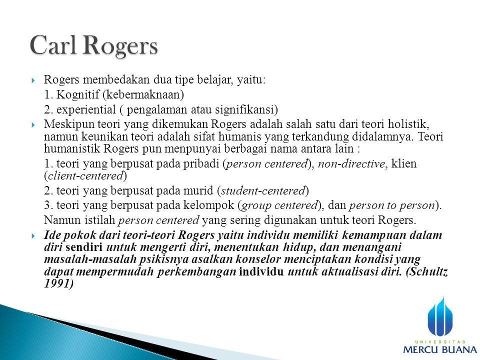  Rogers membedakan dua tipe belajar, yaitu: 1. Kognitif (kebermaknaan) 2.
