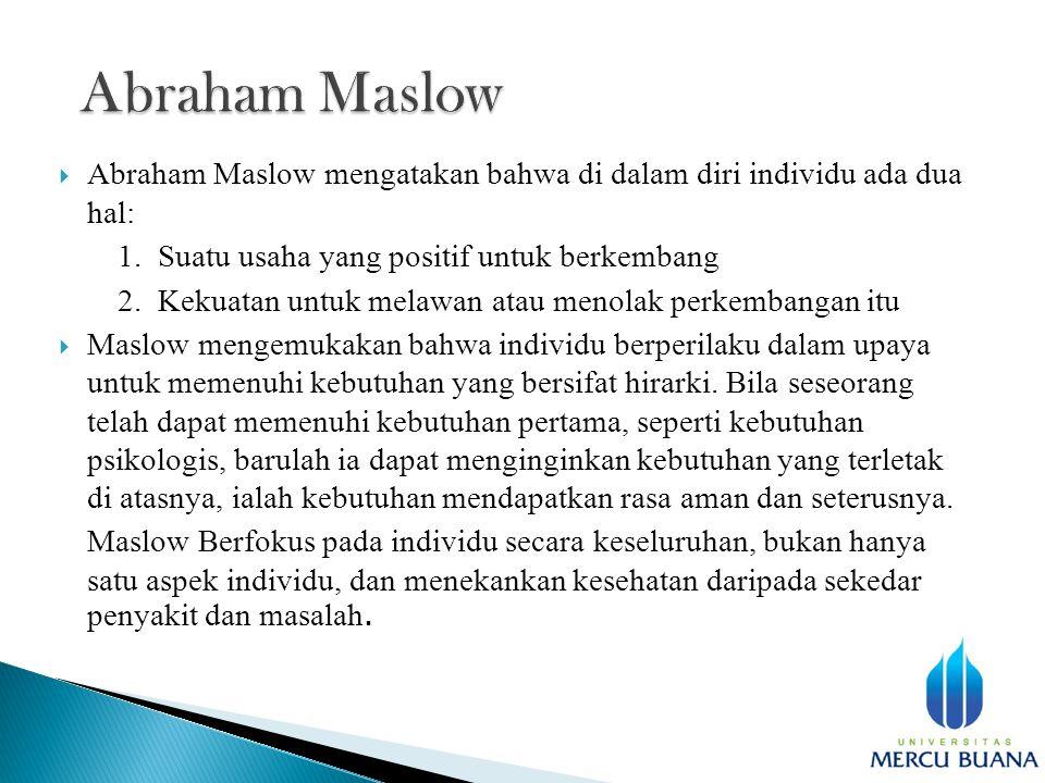  Abraham Maslow mengatakan bahwa di dalam diri individu ada dua hal: 1.
