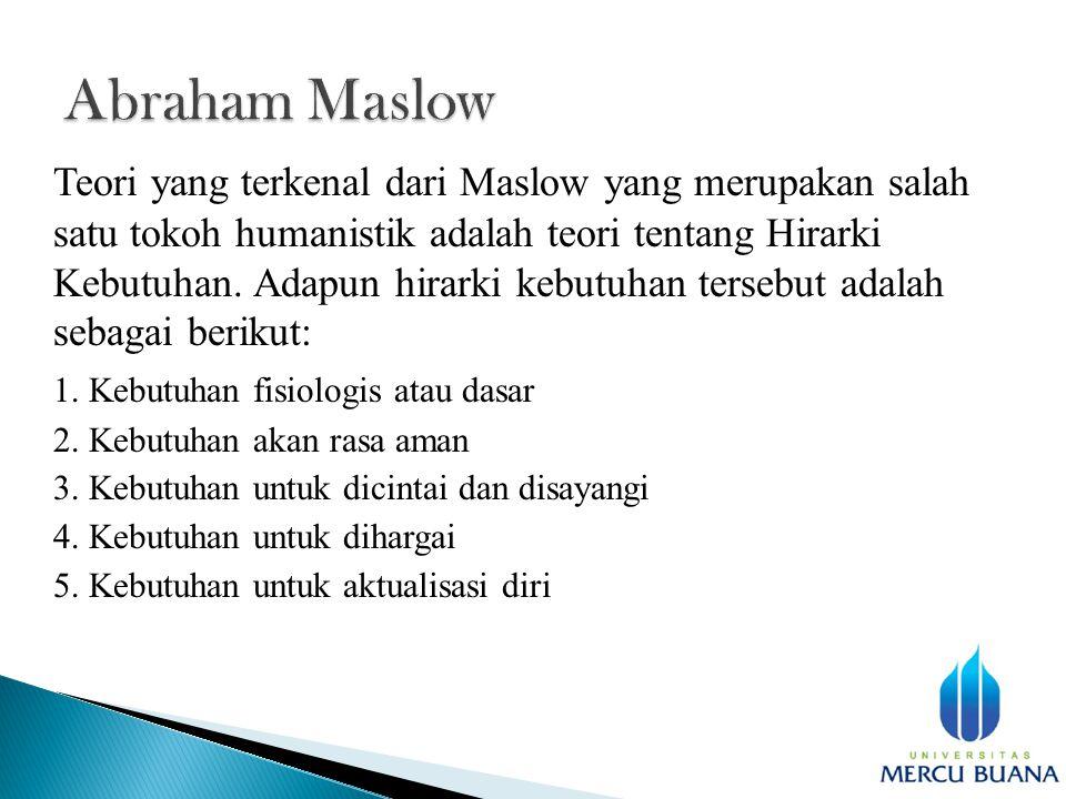 Teori yang terkenal dari Maslow yang merupakan salah satu tokoh humanistik adalah teori tentang Hirarki Kebutuhan.