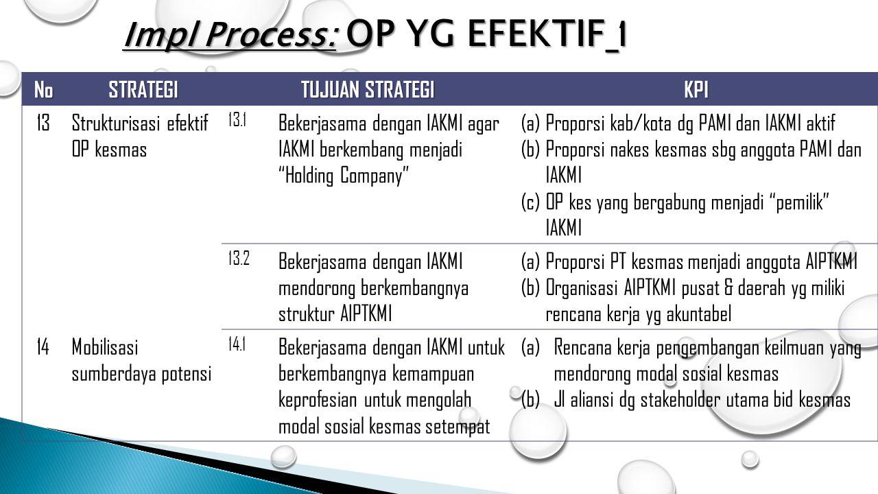 """NoSTRATEGI TUJUAN STRATEGI KPI 13Strukturisasi efektif OP kesmas 13.1 Bekerjasama dengan IAKMI agar IAKMI berkembang menjadi """"Holding Company"""" (a)Prop"""
