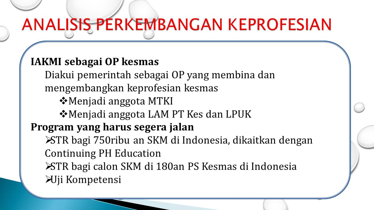 IAKMI sebagai OP kesmas Diakui pemerintah sebagai OP yang membina dan mengembangkan keprofesian kesmas  Menjadi anggota MTKI  Menjadi anggota LAM PT
