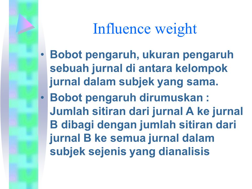 Influence weight Bobot pengaruh, ukuran pengaruh sebuah jurnal di antara kelompok jurnal dalam subjek yang sama.