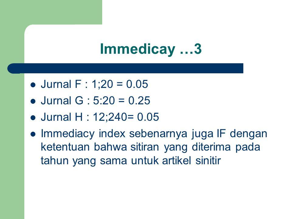 Immedicay …3 Jurnal F : 1;20 = 0.05 Jurnal G : 5:20 = 0.25 Jurnal H : 12;240= 0.05 Immediacy index sebenarnya juga IF dengan ketentuan bahwa sitiran yang diterima pada tahun yang sama untuk artikel sinitir