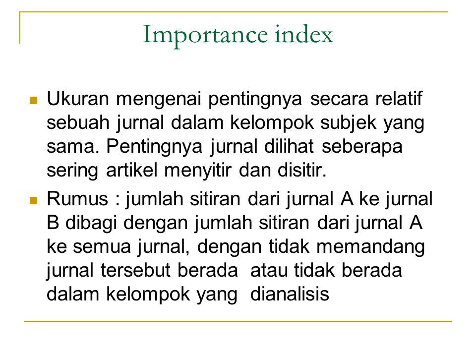 Importance …2 Misallkan jurnal A mempunyai artikel yang disitir pada jurnal B 15 kali dalam tahun tertentu.