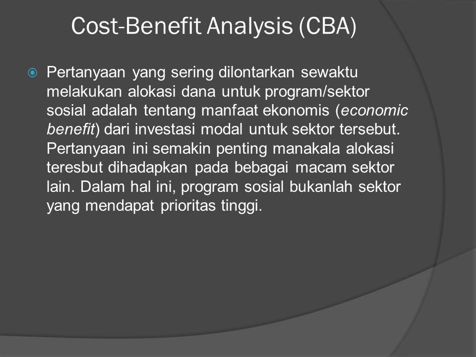 Cost-Benefit Analysis (CBA)  Pertanyaan yang sering dilontarkan sewaktu melakukan alokasi dana untuk program/sektor sosial adalah tentang manfaat eko