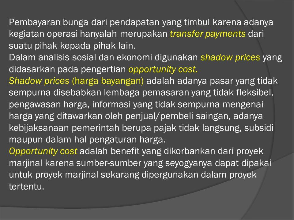Pembayaran bunga dari pendapatan yang timbul karena adanya kegiatan operasi hanyalah merupakan transfer payments dari suatu pihak kepada pihak lain. D
