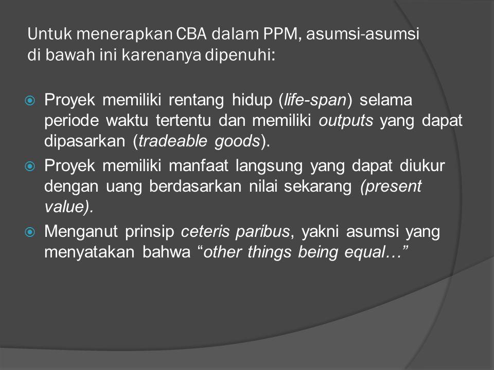 Untuk menerapkan CBA dalam PPM, asumsi-asumsi di bawah ini karenanya dipenuhi:  Proyek memiliki rentang hidup (life-span) selama periode waktu terten