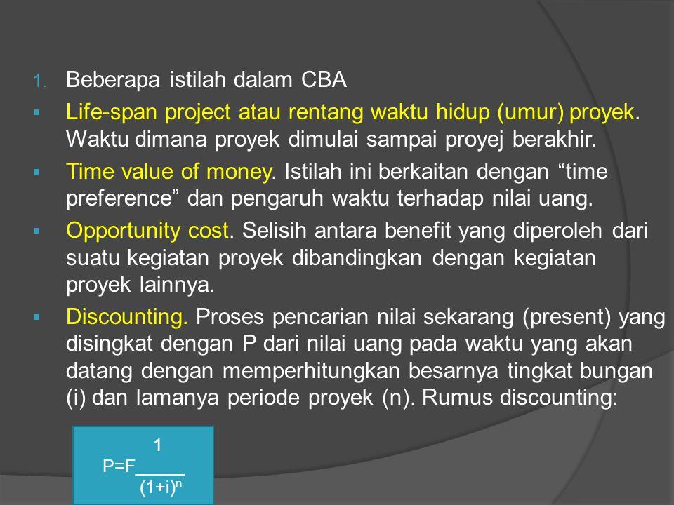 1. Beberapa istilah dalam CBA  Life-span project atau rentang waktu hidup (umur) proyek. Waktu dimana proyek dimulai sampai proyej berakhir.  Time v