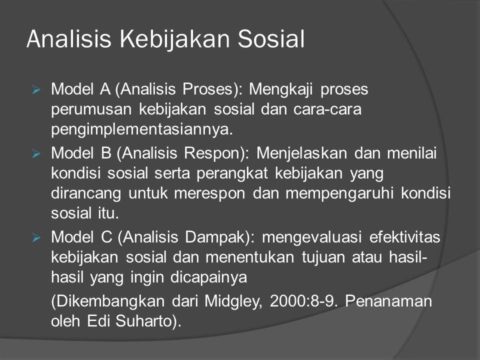 Analisis Kebijakan Sosial  Model A (Analisis Proses): Mengkaji proses perumusan kebijakan sosial dan cara-cara pengimplementasiannya.  Model B (Anal