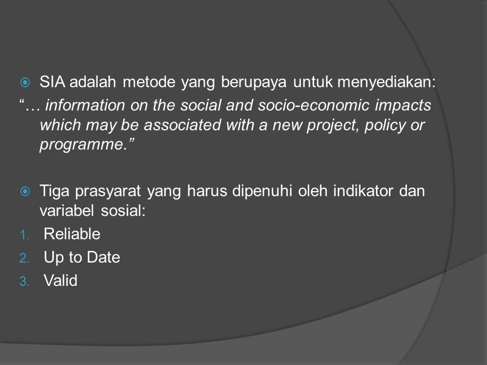 " SIA adalah metode yang berupaya untuk menyediakan: ""… information on the social and socio-economic impacts which may be associated with a new projec"