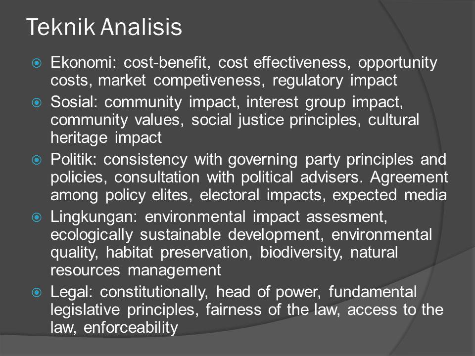 Teknik Evaluasi Kebijakan  Analisis Perbandingan Pembangunan (APP) (membandingkan kondisi masyarakat dilihat dari indikator sosial makro: PDRB, IPM)  Social Impact Assesment (SIA)  SWOPA (Strengths Weakness Opportunities Problems Actions)  Cross Impact Analysis (CIA)