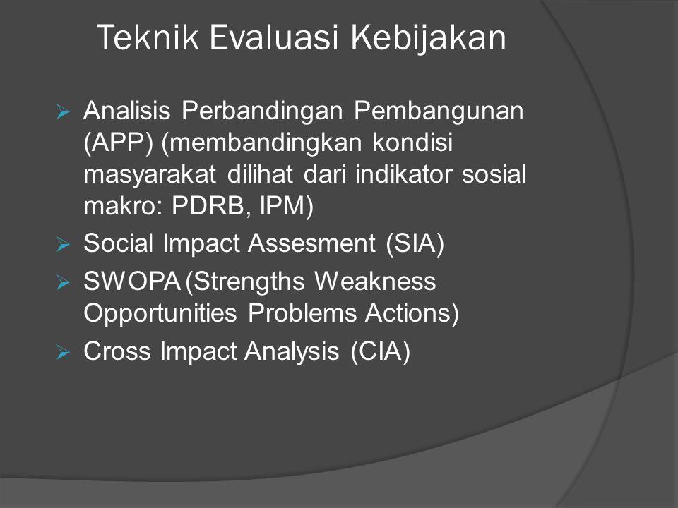 Teknik Evaluasi Kebijakan  Analisis Perbandingan Pembangunan (APP) (membandingkan kondisi masyarakat dilihat dari indikator sosial makro: PDRB, IPM)