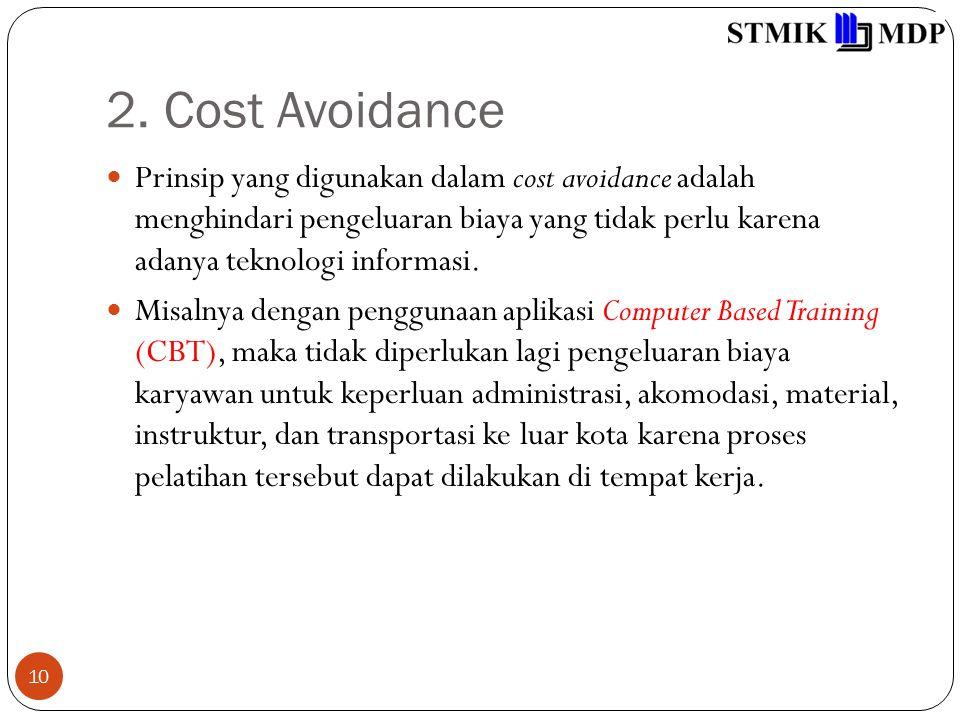 2. Cost Avoidance 10 Prinsip yang digunakan dalam cost avoidance adalah menghindari pengeluaran biaya yang tidak perlu karena adanya teknologi informa