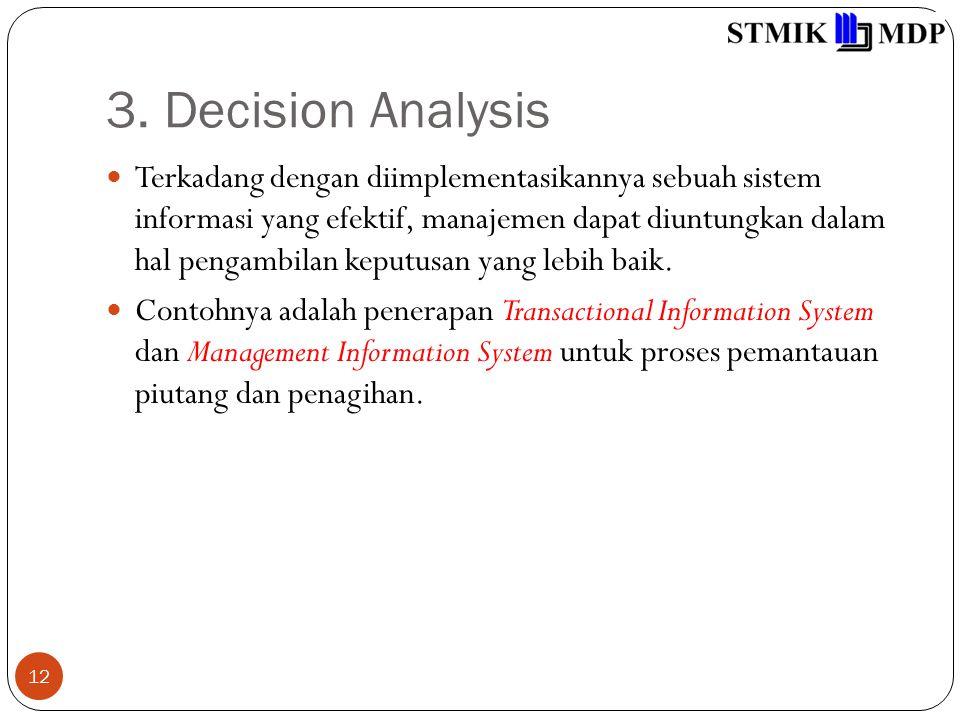 3. Decision Analysis 12 Terkadang dengan diimplementasikannya sebuah sistem informasi yang efektif, manajemen dapat diuntungkan dalam hal pengambilan