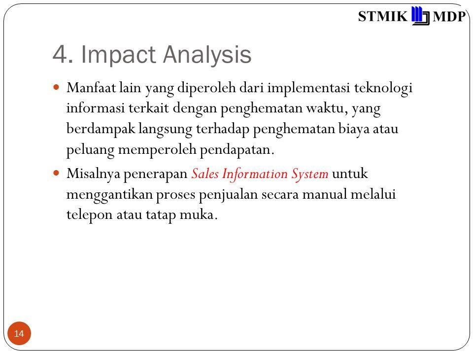 4. Impact Analysis 14 Manfaat lain yang diperoleh dari implementasi teknologi informasi terkait dengan penghematan waktu, yang berdampak langsung terh
