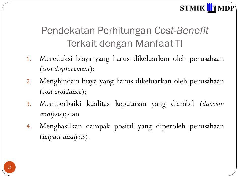 Pendekatan Perhitungan Cost-Benefit Terkait dengan Manfaat TI 3 1. Mereduksi biaya yang harus dikeluarkan oleh perusahaan (cost displacement); 2. Meng
