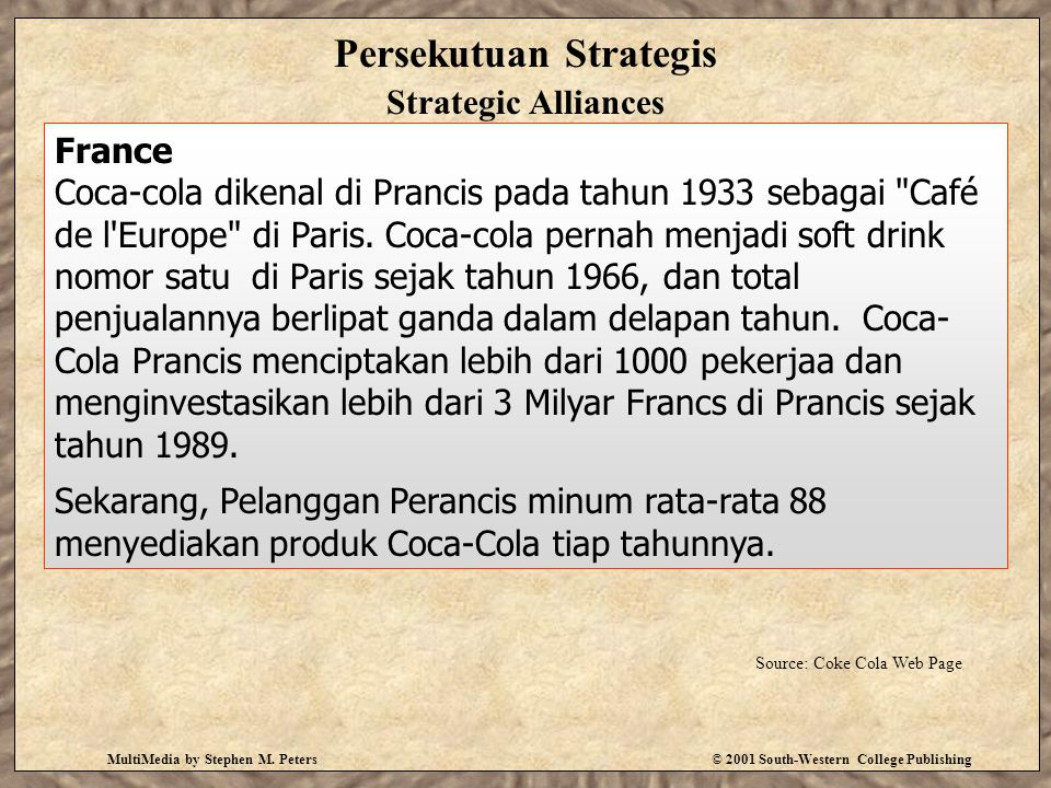 MultiMedia by Stephen M. Peters© 2001 South-Western College Publishing Persekutuan Strategis Strategic Alliances France Coca-cola dikenal di Prancis p