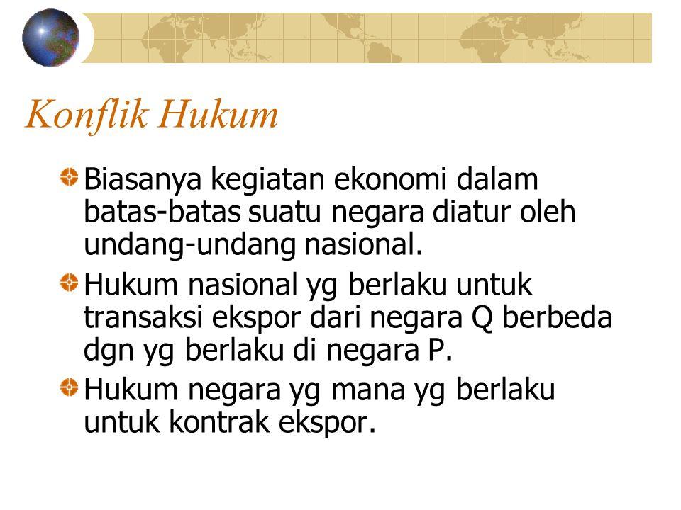 Konflik Hukum Biasanya kegiatan ekonomi dalam batas-batas suatu negara diatur oleh undang-undang nasional. Hukum nasional yg berlaku untuk transaksi e
