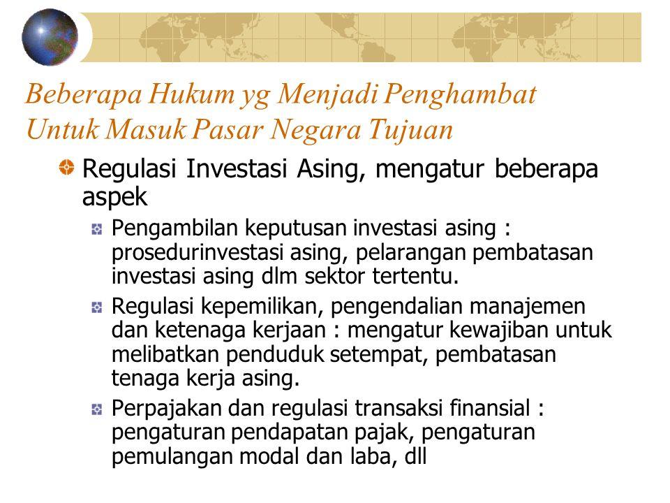 Beberapa Hukum yg Menjadi Penghambat Untuk Masuk Pasar Negara Tujuan Regulasi Investasi Asing, mengatur beberapa aspek Pengambilan keputusan investasi