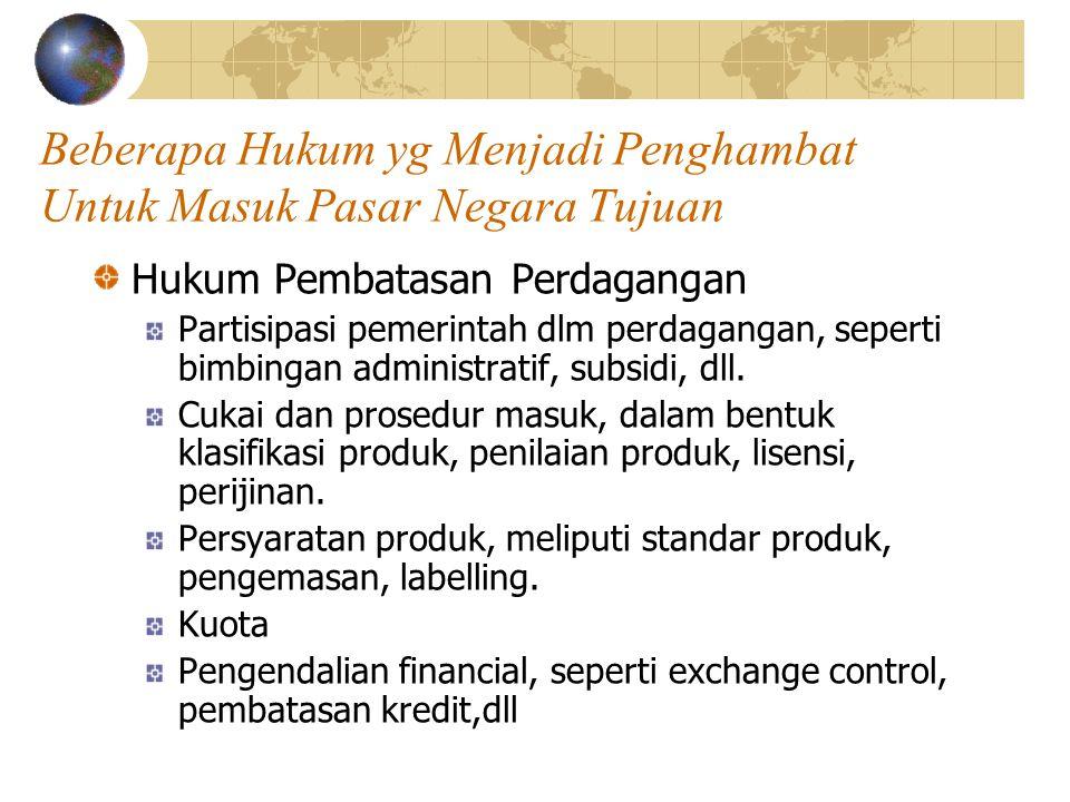 Beberapa Hukum yg Menjadi Penghambat Untuk Masuk Pasar Negara Tujuan Hukum Pembatasan Perdagangan Partisipasi pemerintah dlm perdagangan, seperti bimb