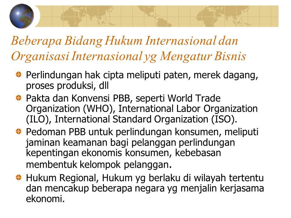 Beberapa Bidang Hukum Internasional dan Organisasi Internasional yg Mengatur Bisnis Perlindungan hak cipta meliputi paten, merek dagang, proses produk