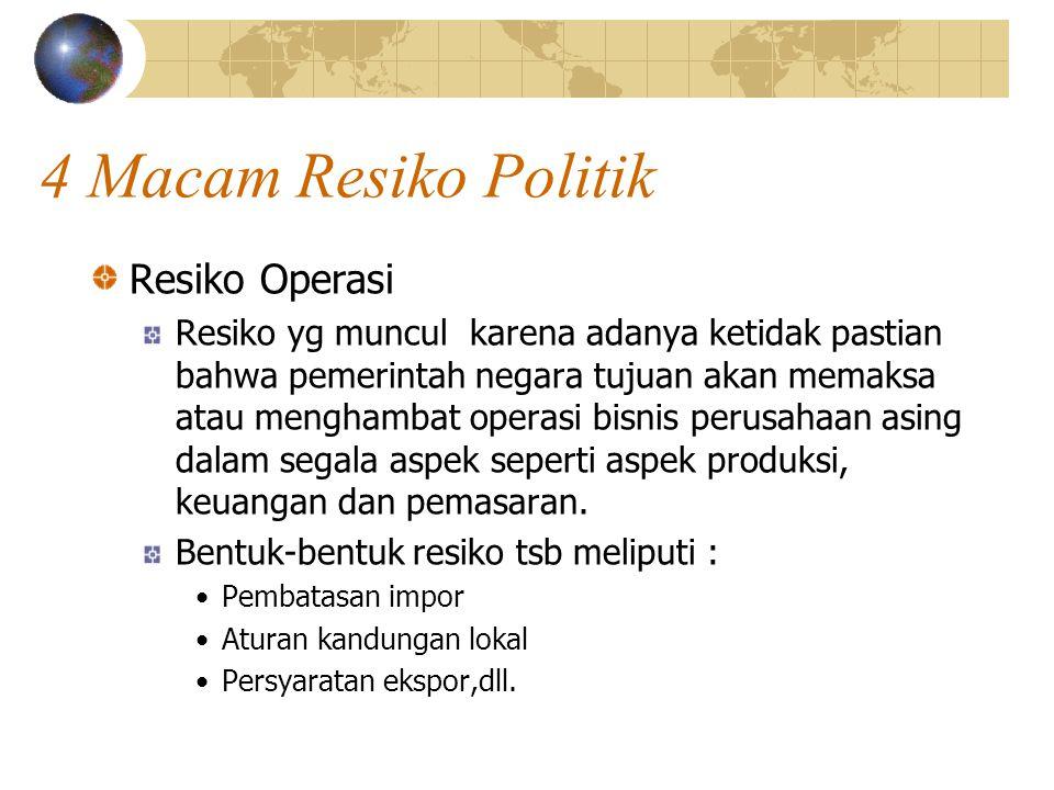 4 Macam Resiko Politik Resiko Operasi Resiko yg muncul karena adanya ketidak pastian bahwa pemerintah negara tujuan akan memaksa atau menghambat opera