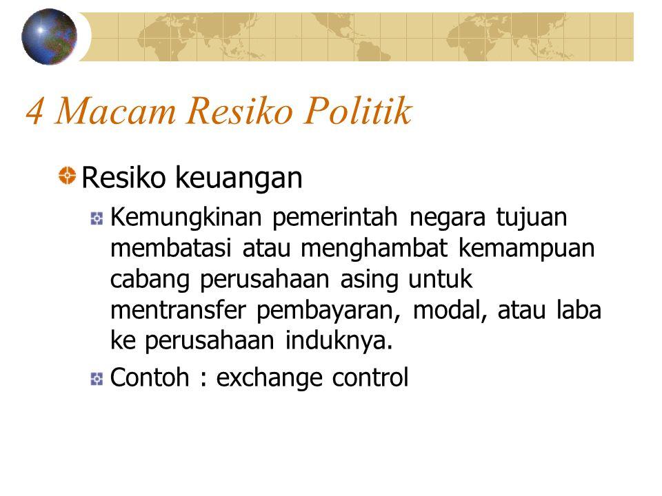 4 Macam Resiko Politik Resiko keuangan Kemungkinan pemerintah negara tujuan membatasi atau menghambat kemampuan cabang perusahaan asing untuk mentrans