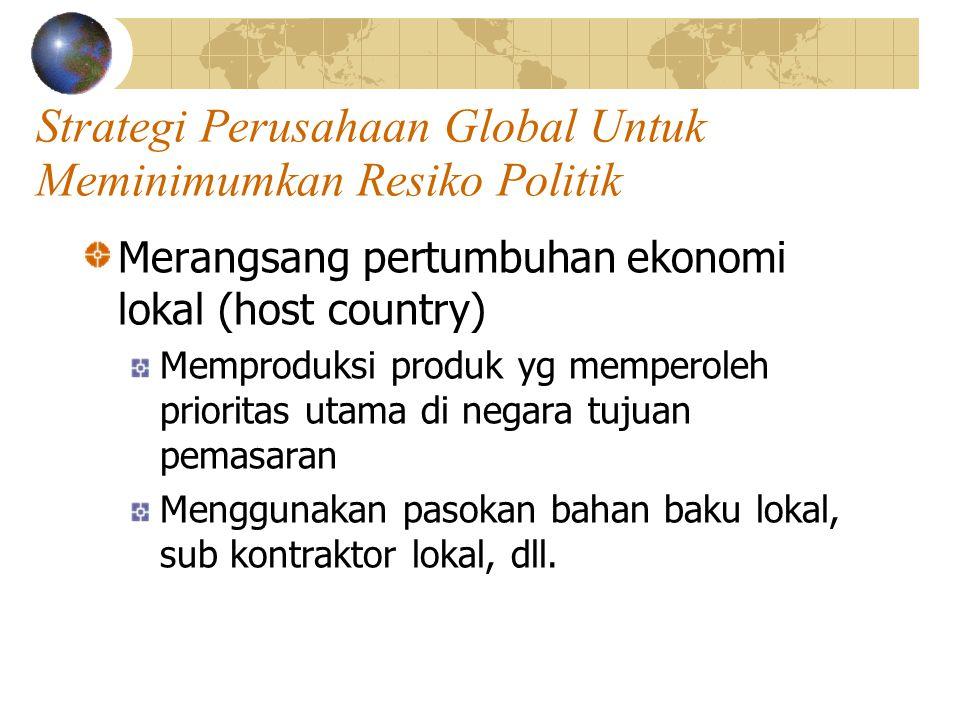 Strategi Perusahaan Global Untuk Meminimumkan Resiko Politik Merangsang pertumbuhan ekonomi lokal (host country) Memproduksi produk yg memperoleh prio