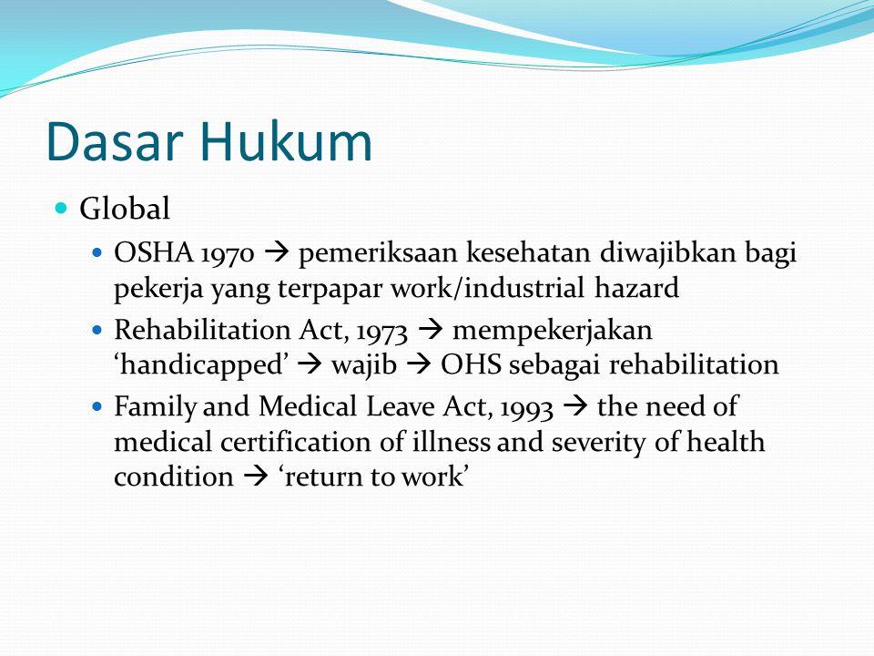 Dasar Hukum Global OSHA 1970  pemeriksaan kesehatan diwajibkan bagi pekerja yang terpapar work/industrial hazard Rehabilitation Act, 1973  mempekerj