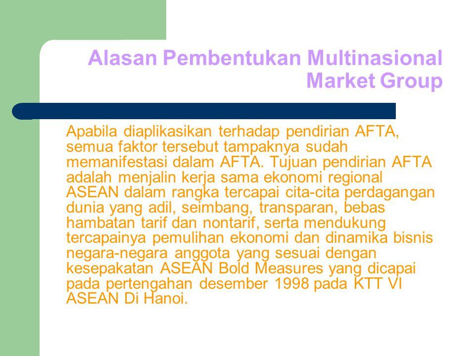 Alasan Pembentukan Multinasional Market Group Apabila diaplikasikan terhadap pendirian AFTA, semua faktor tersebut tampaknya sudah memanifestasi dalam