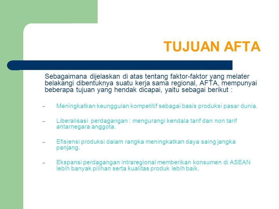 TUJUAN AFTA Sebagaimana dijelaskan di atas tentang faktor-faktor yang melater belakangi dibentuknya suatu kerja sama regional, AFTA, mempunyai beberap