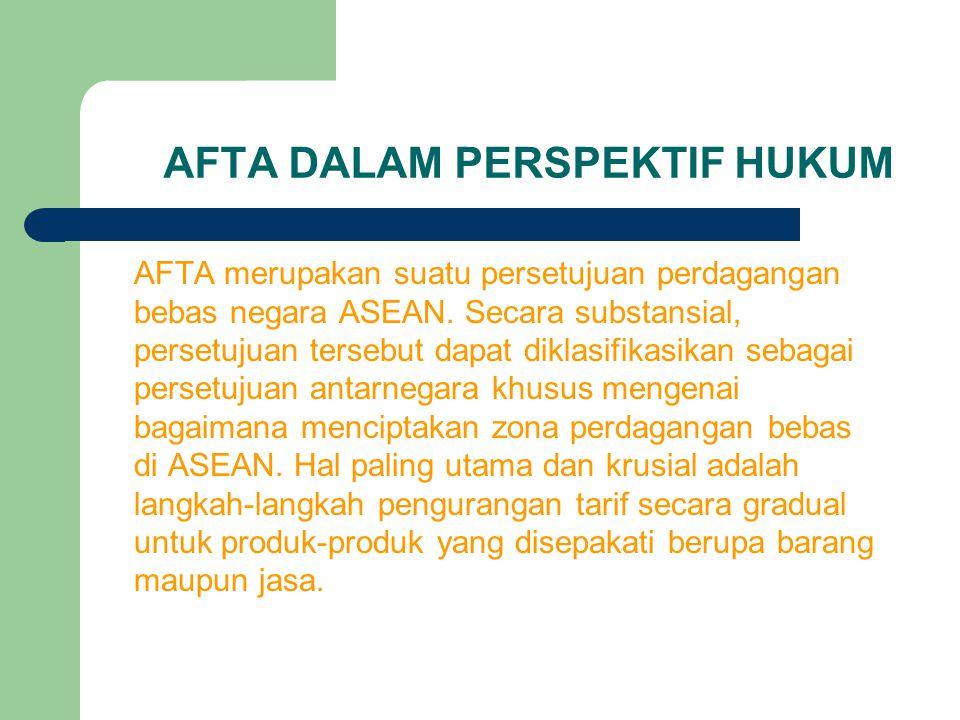 AFTA DALAM PERSPEKTIF HUKUM AFTA merupakan suatu persetujuan perdagangan bebas negara ASEAN. Secara substansial, persetujuan tersebut dapat diklasifik