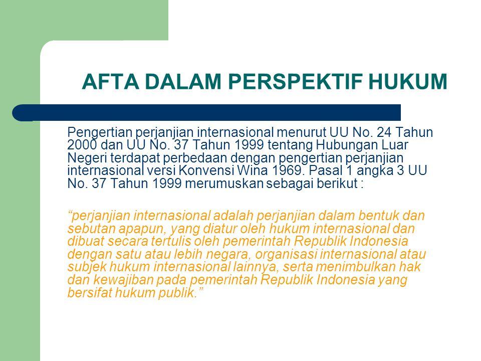 AFTA DALAM PERSPEKTIF HUKUM Pengertian perjanjian internasional menurut UU No. 24 Tahun 2000 dan UU No. 37 Tahun 1999 tentang Hubungan Luar Negeri ter