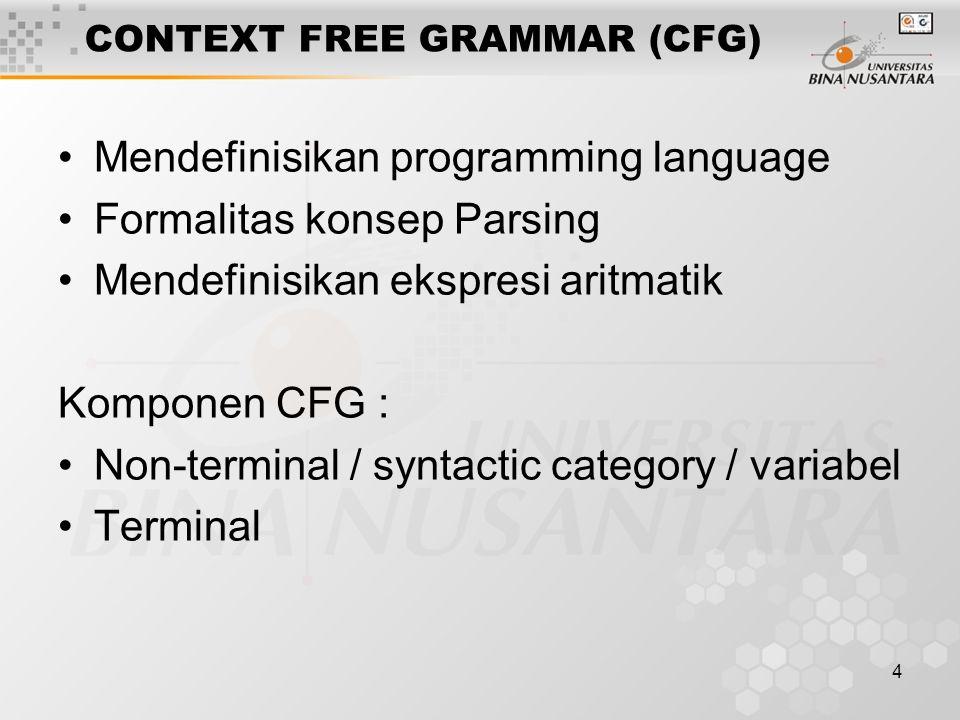 4 CONTEXT FREE GRAMMAR (CFG) Mendefinisikan programming language Formalitas konsep Parsing Mendefinisikan ekspresi aritmatik Komponen CFG : Non-terminal / syntactic category / variabel Terminal