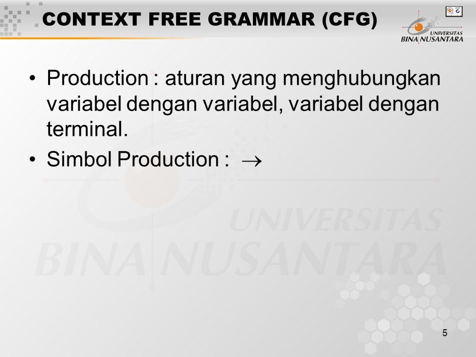5 CONTEXT FREE GRAMMAR (CFG) Production : aturan yang menghubungkan variabel dengan variabel, variabel dengan terminal.