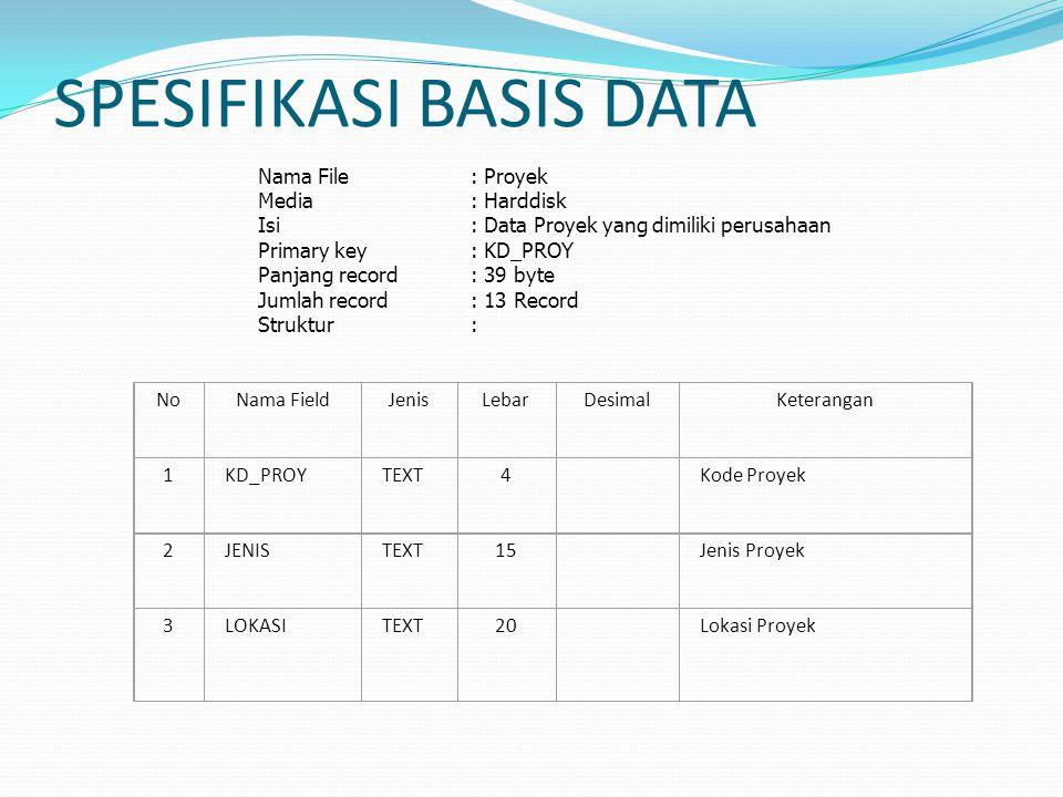 Nama File: Proyek Media : Harddisk Isi : Data Proyek yang dimiliki perusahaan Primary key: KD_PROY Panjang record : 39 byte Jumlah record: 13 Record S
