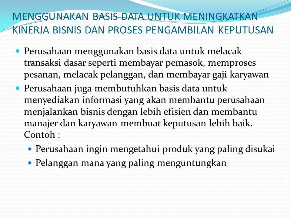 MENGGUNAKAN BASIS DATA UNTUK MENINGKATKAN KINERJA BISNIS DAN PROSES PENGAMBILAN KEPUTUSAN Perusahaan menggunakan basis data untuk melacak transaksi da