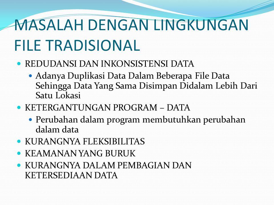 MASALAH DENGAN LINGKUNGAN FILE TRADISIONAL REDUDANSI DAN INKONSISTENSI DATA Adanya Duplikasi Data Dalam Beberapa File Data Sehingga Data Yang Sama Dis