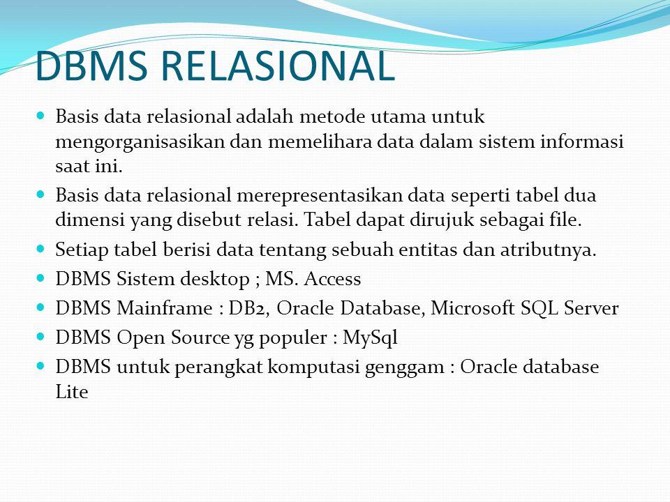 DBMS RELASIONAL Basis data relasional adalah metode utama untuk mengorganisasikan dan memelihara data dalam sistem informasi saat ini. Basis data rela