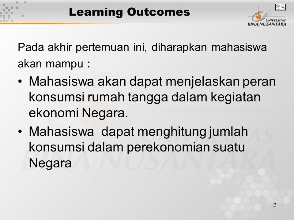 2 Learning Outcomes Pada akhir pertemuan ini, diharapkan mahasiswa akan mampu : Mahasiswa akan dapat menjelaskan peran konsumsi rumah tangga dalam kegiatan ekonomi Negara.
