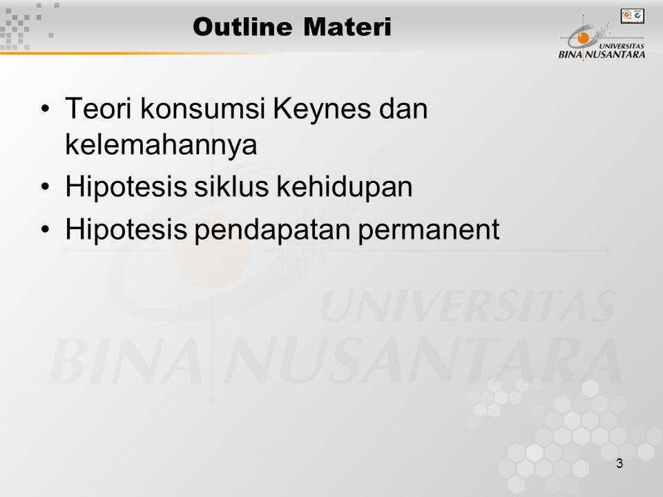 3 Outline Materi Teori konsumsi Keynes dan kelemahannya Hipotesis siklus kehidupan Hipotesis pendapatan permanent